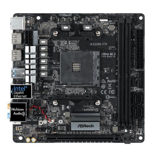 Asrock A320M-ITX, AMD A320, AM4, Mini ITX, 2 DDR4, 2 HDMI, M.2
