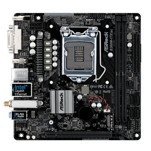Asrock B360M-ITX/AC, Intel B360, 1151, Mini ITX, DDR4, DVI, HDMI, DP, Wi-Fi, M.2