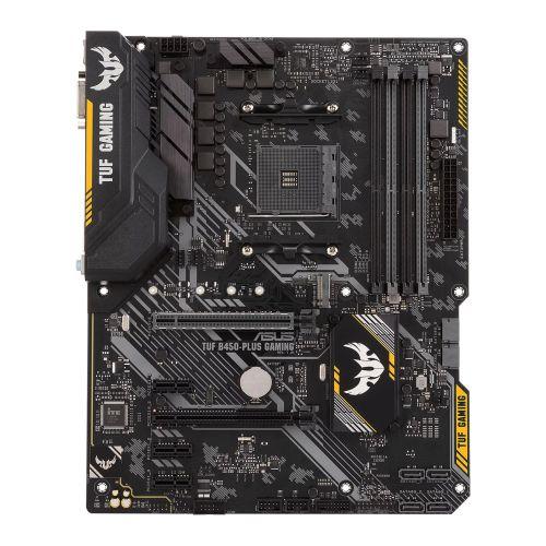 Asus TUF B450-PLUS GAMING, AMD B450, AM4, ATX, 4 DDR4, XFire, DVI, HDMI, RGB Lighting, M.2