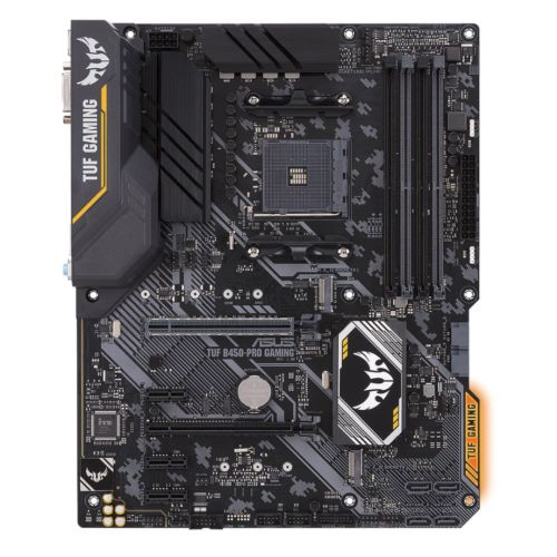 Asus TUF B450-PRO GAMING, AMD B450, AM4, ATX, 4 DDR4, XFire, DVI, HDMI, M.2, RGB Lighting