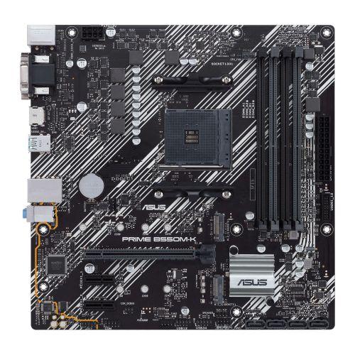 Asus PRIME B550M-K, AMD B550, AM4, Micro ATX, 4 DDR4, VGA, DVI, HDMI, PCIe4, M.2