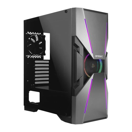 Antec DA601 Dark Avenger Gaming Case with Window, E-ATX, No PSU, Tempered Glass, ARGB Front Strips & Fan