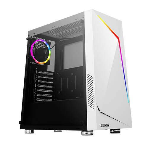 Antec NX300 ATX Gaming Case with Window, No PSU, Tempered Glass, ARGB Rear Fan & Front ARGB LED Strip, LED Control Button, White