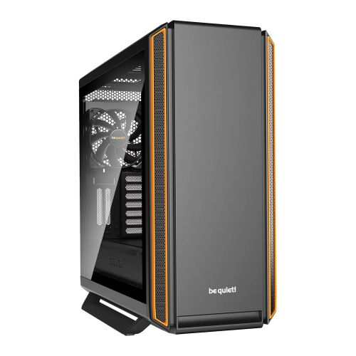 Be Quiet! Silent Base 801 Gaming Case with Window, E-ATX, No PSU, 3 x Pure Wings 2 Fans, PSU Shroud, Orange Trim