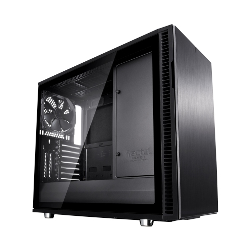 Fractal Design Define R6 (Black TG) Gaming Case w/ Clear Glass Window, E-ATX, No PSU, Modular Design, 3 Fans, Fan Hub, Sound Dampening