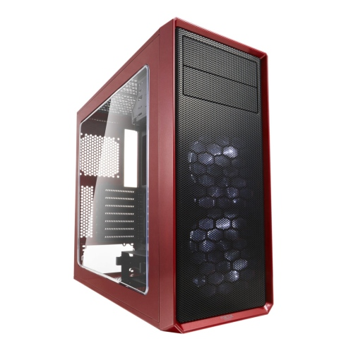 Fractal Design Focus G (Mystic Red) Gaming Case w/ Clear Window, ATX, 2 White LED Fans, Kensington Bracket, Filtered Front, Top & Base Air Intakes