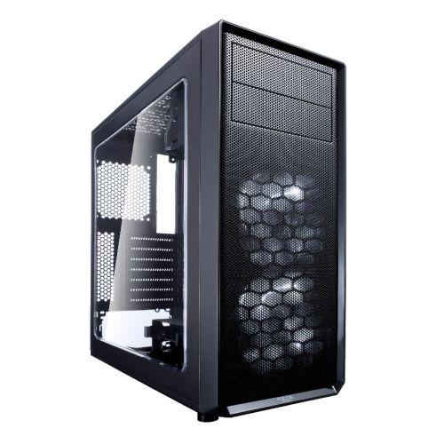 Fractal Design Focus G (Black) Gaming Case w/ Clear Window, ATX, 2 White LED Fans, Kensington Bracket, Filtered Front, Top & Base Air Intakes