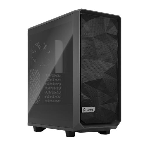 Fractal Design Meshify 2 Compact (Light TG) Gaming Case w/ Light Tint Glass Window, ATX, Angular Mesh Front, 3 Fans, Detachable Front Filter, USB-C, Grey