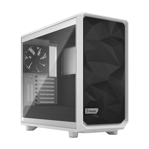 Fractal Design Meshify 2 (White TG) Gaming Case w/ Clear Glass Window, E-ATX, Angular Mesh Front, 3 Fans, Fan Hub, Detachable Front Filter, USB-C, White
