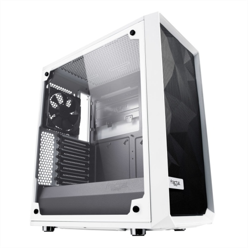 Fractal Design Meshify C (White TG) Gaming Case w/ Clear Glass Window, ATX, Angular Mesh Front, High-airflow, 2 x 12cm Fans, White