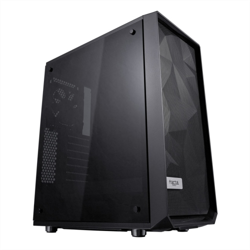 Fractal Design Meshify C (Dark TG) Gaming Case w/ Dark Tint Glass Window, ATX, Angular Mesh Front, High-airflow, 2 x 12cm Fans