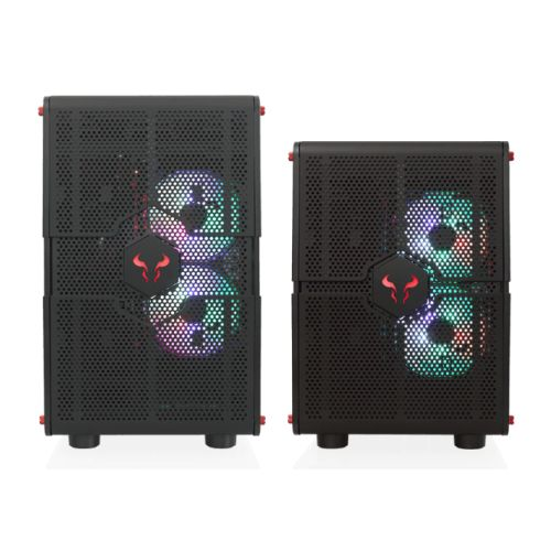 Riotoro GPX100 Morpheus Convertible Mini-to-Mid Tower Case, < EATX MB, Perforated Mesh, Red LED Fans, USB-C, Dual Chamber, Tool-less