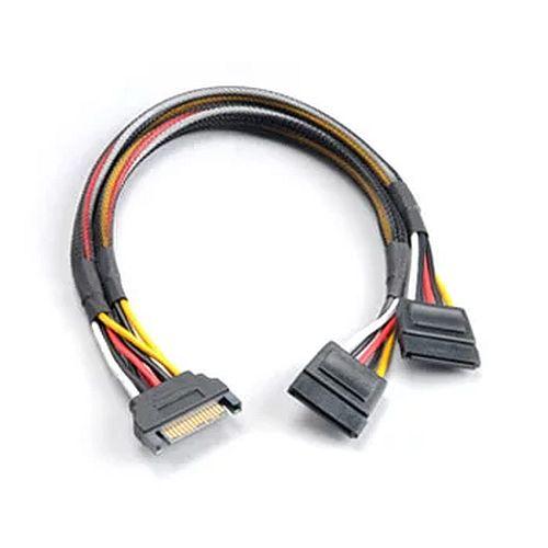 Akasa SATA Power Splitter - Male 15-pin SATA to 2 x 15pin SATA Female Power Connectors, 30cm