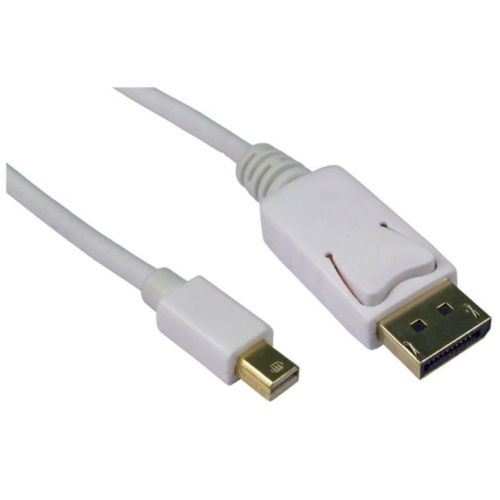 Spire Mini DisplayPort Male to DisplayPort Male Converter Cable, 2 Metres, Gold Connectors, White
