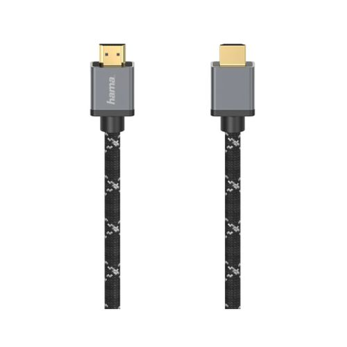 Hama Ultra High Speed HDMI Cable, 3 Metres, Supports 8K, Braided Jacket, Gold-plated Connectors
