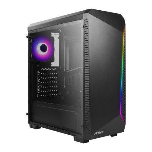 Antec NX220 ATX Gaming Case w/ Window, No PSU, ARGB Rear Fan & Front ARGB LED Strip, LED Control Button, Black