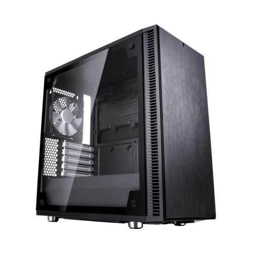 Fractal Design Define Mini C (Black TG) Quiet Compact Gaming Case w/ Glass Window, Micro ATX, 2 Fans, ModuVent Technology, PSU Shroud, Optional Top Filter