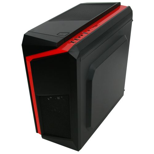 Spire F3 Micro ATX Gaming Case with Windows, No PSU, Red LED Fan, Black with Red Stripe, Card Reader