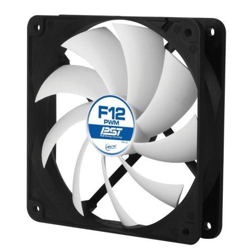 Arctic F12 12cm PWM Case Fan, Black & White, 9 Blades, Fluid Dynamic, 6 Year Warranty