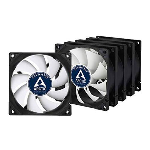 Arctic F8 8cm PWM PST Case Fans x5, Black & White, Fluid Dynamic, Value Pack (5 Fans), 6 Year Warranty