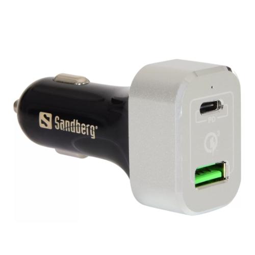 Sandberg (441-11) Dual USB Car Adapter, QC 3.0 / USB-C Quick Charge, 63W, 5 Year Warranty