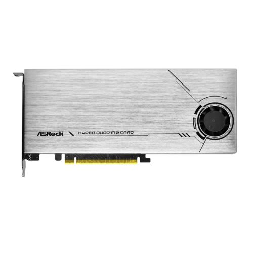 Asrock Hyper Quad M.2 Card, 4x Hyper M.2 NVMe, PCIe 4.0 x16, 64Gb/s, Intel VROC
