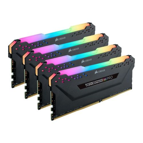 Corsair Vengeance RGB Pro 128GB Memory Kit (4 x 32GB), DDR4, 3200MHz (PC4-25600), CL16, XMP 2.0, Black