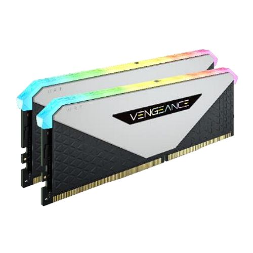 Corsair Vengeance RGB RT 16GB Memory Kit (2 x 8GB), DDR4, 3600MHz (PC4-28800), CL18, XMP 2.0, 10 LEDs, AMD Optimised, White