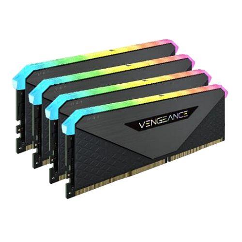 Corsair Vengeance RGB RT 32GB Memory Kit (4 x 8GB), DDR4, 3200MHz (PC4-25600), CL16, XMP 2.0, 10 LEDs, AMD Optimised, Black