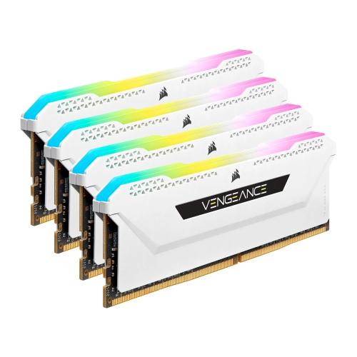 Corsair Vengeance RGB Pro SL 32GB Memory Kit (4 x 8GB), DDR4, 3200MHz (PC4-25600), CL16, XMP 2.0, White