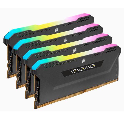 Corsair Vengeance RGB Pro SL 64GB Memory Kit (4 x 16GB), DDR4, 3200MHz (PC4-25600), CL16, XMP 2.0, Black