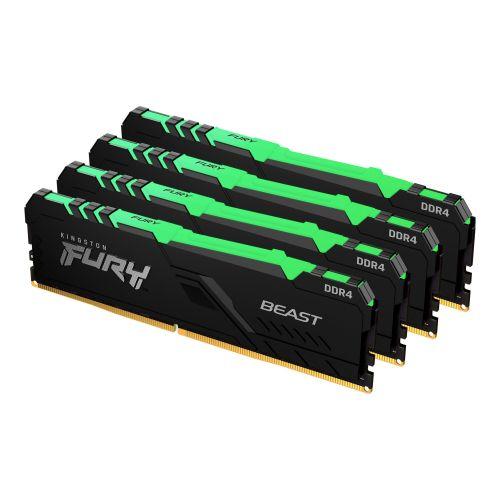 Kingston Fury Beast RGB 64GB Kit (4 x 16GB), DDR4, 3200MHz (PC4-25600), CL16, DIMM Memory