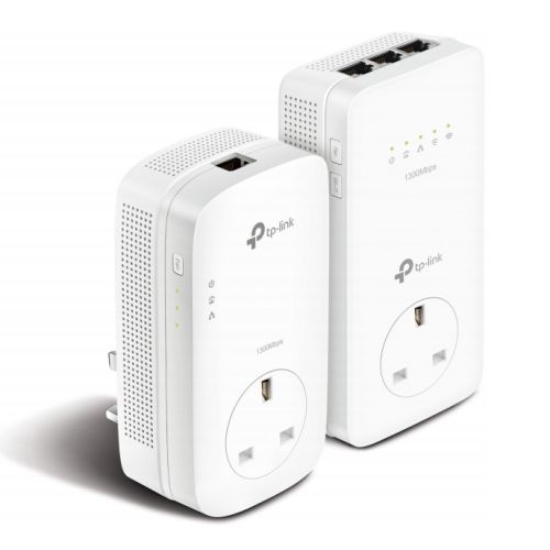 TP-LINK (TL-WPA8630P KITV2) AC1350 Wireless Dual Band Powerline Adapter Kit, AV2 1300, AC Pass Through, 3-Port