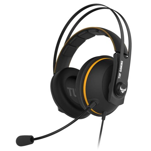 Asus TUF Gaming H7 7.1 Gaming Headset, 53mm Driver, 3.5mm Jack (USB Adapter), Boom Mic, Virtual Surround, Stainless-Steel Headband, Yellow