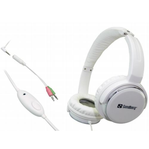 Sandberg Home 'N Street Headset, Microphone on Cable, 40mm Driver, White, 5 Year Warranty