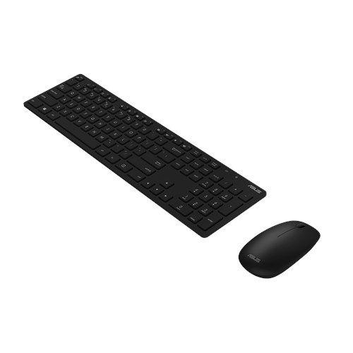 Asus W5000 Wireless Keyboard and Mouse Desktop Kit, Multimedia, Low Profile, 1600 DPI, Black