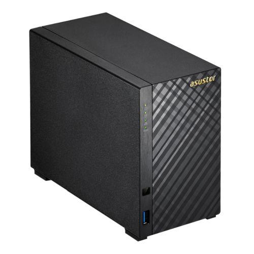 ASUSTOR AS1002T V2 2-Bay NAS Enclosure (No Drives), Dual Core 1.6GHz CPU, 512MB, USB3, GB LAN, Diamond-Plate Finish