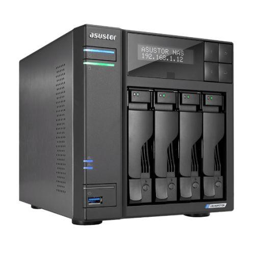 ASUSTOR AS6604T Lockerstor 4-Bay NAS Enclosure (No Drives), Quad Core CPU, 4GB DDR4, USB 3.2, 2 x 2.5G LAN,  2 x M.2 NVMe