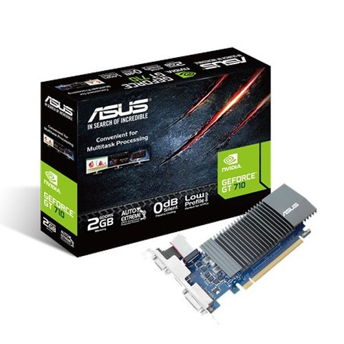 Asus GT710, 2GB DDR5, PCIe2, VGA, DVI, HDMI, 954MHz Clock, Silent, Low Profile (No Bracket)
