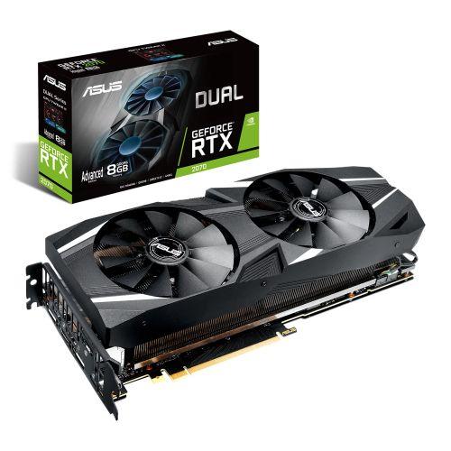 Asus RTX2070 DUAL Advanced, 8GB DDR6, HDMI, 3 DP, USB-C, 1665MHz OC