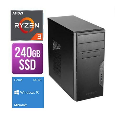 Spire Tower PC, Antec VSK3000B, Ryzen 3 3200G, 8GB, 240GB SSD, Antec 500W, DVDRW, KB & Mouse, Windows 10 Home