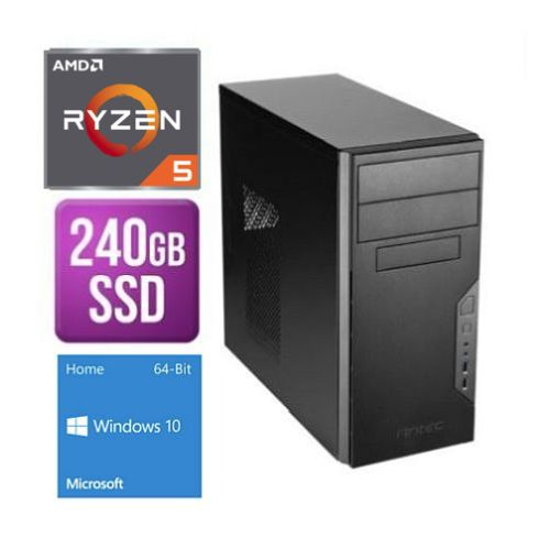 Spire Tower PC, Antec VSK3000B, Ryzen 5 3400G, 8GB, 240GB SSD, Antec 500W, DVDRW, KB & Mouse, Windows 10 Home