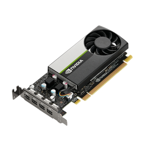 PNY NVidia T1000 Professional Graphics Card, 4GB DDR6, 4 miniDP 1.4 (4 x DP adapters), Low Profile (Bracket Included)
