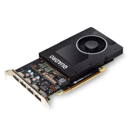 PNY Quadro P2200 Professional Graphics Card, 5GB DDR5X, 1280 Cores, 200GB/s, 3.8 TFLOPs, 4 DP 1.4, Single Slot, OEM, Bulk (Brown Box)