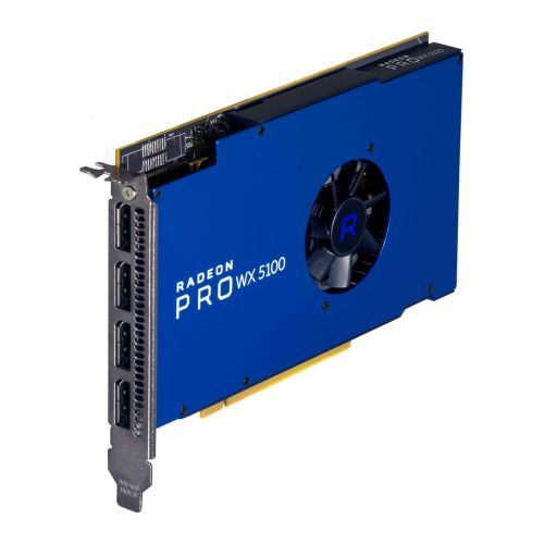 AMD Radeon Pro WX 5100 Professional Graphics Card, 8GB DDR5, 4 DP 1.4 (2 x DVI adapters), 1086MHz Clock, CrossFire