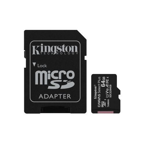 Kingston 64GB Canvas Select Plus Micro SD Card with SD Adapter, UHS-I Class 10 with A1 App Performance