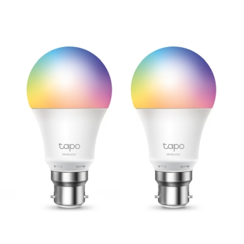 TP-LINK (Tapo L530B 2-Pack) Wi-Fi LED Smart Multicolour Light Bulb, Dimmable, App/Voice Control, Bayonet Fitting