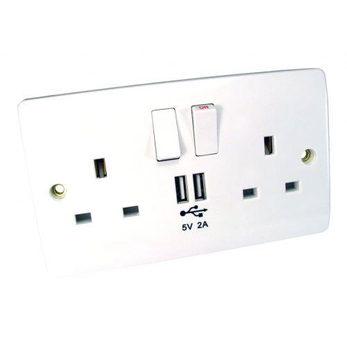 Spire UK Power & USB Wall Socket, 13A, 250V, USB 2A 5V