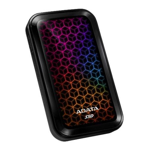 ADATA SE770G 512GB External RGB SSD, USB 3.2 Gen2 Type-C (USB-A Adapter), R/W 1000/800 MB/s, Windows/Mac/Android Compatible