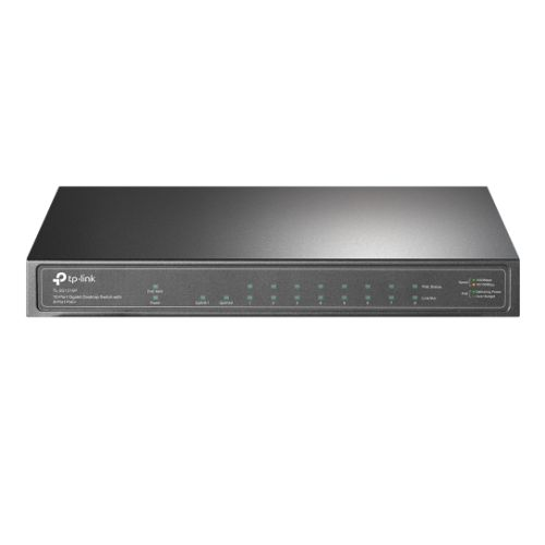 TP-LINK (TL-SG1210P) 10-Port GB Desktop Switch, 9 RJ45 + 1 SFP Port, 8-Port PoE+, Metal Casing